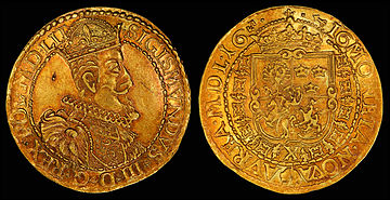 Sigismund III depicted on a 1616 Lithuanian 10 ducat[8]Coat of arms, Polish–Lithuanian Commonwealth, and privy mark of Hieronim Wołłowicz, Grand Treasurer of Lithuania[9] (reverse, see file notation).