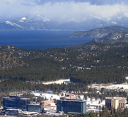 View of Stateline from near Heavenly Mountain Resort. Lake Tahoe in background.