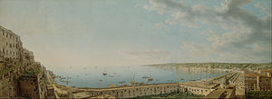 Giovanni Battista Lusieri (Italian - A View of the Bay of Naples, Looking Southwest from the Pizzofalcone Toward Capo di Posilippo - Google Art Project.jpg