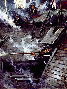 painting of the USS Galena's port broadside, with John Mackie firing his musket from a gun port