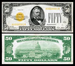Paper currency, double image of obverse (with Grants image) and reverse (with Capitol building image)