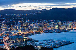 Wellington Harbour and city viewed from Mount Victoria at twilight
