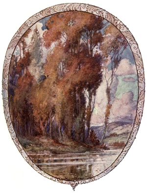 Drawing of trees with orange and red leaves with a lake at the bottom and hills in the distance.