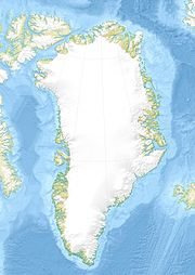 Map of Greenland showing the location of Thule on its northwestern shore
