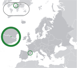 Location of  Andorra  (center of green circle)in Europe  (dark grey)  –  [Legend]