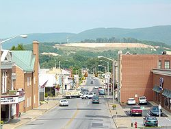 Downtown Waynesboro showing Main Street, as well as the scar on the mountain prior to being seeded.  The Wayne Theatre (under restoration) is visible at the extreme left of the photo.