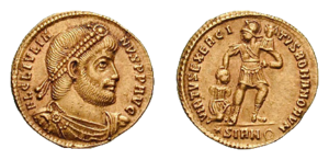 Solidus, obverse showing Julianus as philosopher, reverse symbolizing the strength of the Roman army