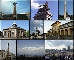 A montage of Addis Ababa's sights (from left to right) Top: Addis Ababa City Hall, Lion of Judah Monument, Tiglachin MonumentMiddle: St. George's Cathedral, Yekatit 12 Square, Addis Ababa Railway Station  Bottom: Meyazia 27 Square, View of Addis Ababa from Entoto, Meskel Square