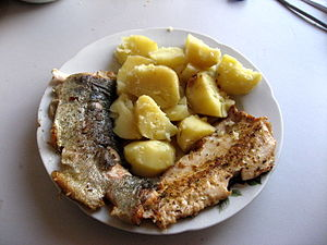 Photo of fried fish filet on a plate