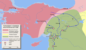 Map detailing the route of Khalid ibn Walid's invasion of Anatolia and Armenia