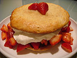 Strawberry shortcake on white plate, March 2009.jpg