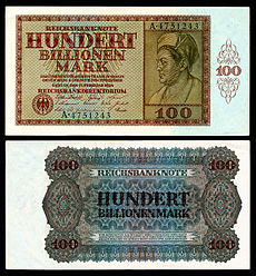 100 trillion (1014) marks in German papiermark, the highest denomination issued.