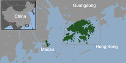 Macau and Hong Kong in Pearl River Deltain southeastern China