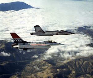 Two jet aircraft flying together over mountain range and cloud