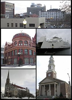 Clockwise from top: Downtown Bridgeport, the Bridgeport & Port Jefferson Ferry, the United Congregational Church, St. Patrick's Church, and the P.T. Barnum Museum