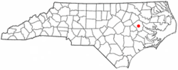 Location of Greenville shown within North Carolina
