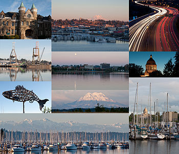 (From top left to bottom right) Old Capitol Building, East Olympia, Interstate 5 at the junction of U.S. Route 101, Port of Olympia, Downtown from Capitol Lake, Washington State Capitol, Salmon sculpture, Mount Rainier, Olympic Mountains and Swantown Marina, Percival Landing Park.