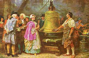 A painting in which a man in working clothes shows off the Liberty Bell to a number of well-dressed people, who are conferring. A woman prepares to tap the bell with a hammer.