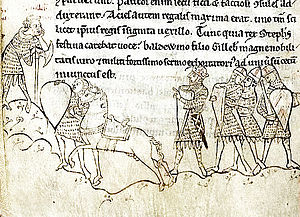 A medieval manuscript and ink picture of King Stephen at the Battle of Lincoln