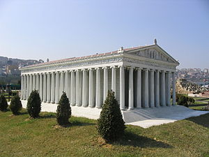 color view of reconstructed model of Temple of Artemis, at Miniatürk Park, Istanbul, Turkey