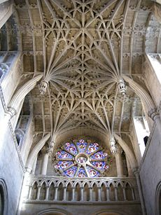 The Norman interior of a very small cathedral has a late Gothic vault of rare design
