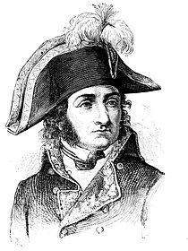 Black and white engraving of a man with long sideburns in a dark military coat. He wears a large bicorne hat with a plume.