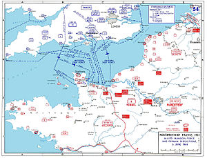 Map of Operation Neptune showing final airborne routes