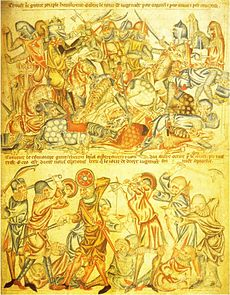 Image of the Battle of Bannockburn reproduced from the Holkham Bible
