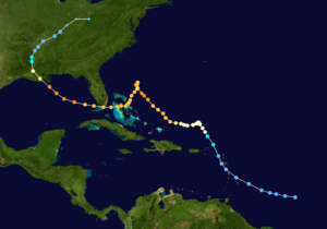 The path of a tropical cyclone as represented by colored dots; each dot denotes the location and strength of the tropical cyclone at six-hour intervals.