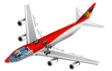 Cutaway rendering of a 747, showing internal seating and landing gear