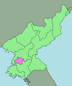 Map of North Korea with Pyongyang highlighted