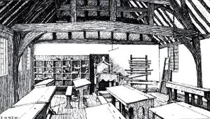 Drawing of the Stratford grammar school, showing the interior of a classroom with student desks and benches.