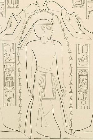Ramesses XI from the Temple of Khonsu in Karnak, drawn by Karl Richard Lepsius