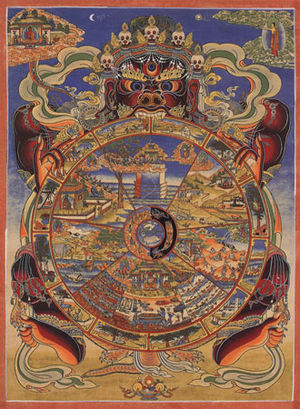 Traditional Tibetan Buddhist Thangka depicting the Wheel of Life