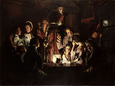 "The painting ""An Experiment on a Bird in an Air Pump by Joseph Wright of Derby, 1768, showing Robert Boyle performing a decompression experiment in 1660."