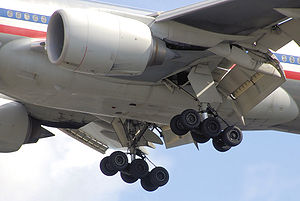 Aircraft belly section. Close view of engines, extended landing gear and angled control flaps.