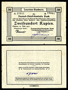 A 200 German East African rupie provisional banknote issued in Dar es Salaam from 1915-17. Currency had to be printed locally due to a significant lack of provisions resulting from the naval blockade.