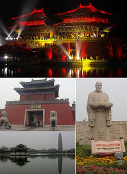 Top:View of night in Xuande Palace at Millennium City Park, Bottom upper left:Gate Tower and Kaifeng Government Hall, Bottom lower left:Iron Pagoda and Tieta Lake, Bottom right:Statue of Zhang Zeduan in Kaifeng Millennium City Park