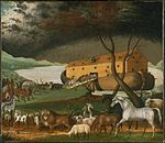 A painting by the American Edward Hicks (1780–1849), showing the animals boarding Noah's Ark two by two.