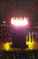 Olympic Cauldron after being lit at the London 2012 Olympic Games Opening Ceremony.jpg