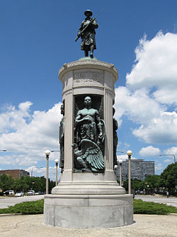 The Victory Monument, which is listed on the National Register of Historic Places, is located in the Black Metropolis-Bronzeville District near the starting point of the Bud Billiken Parade