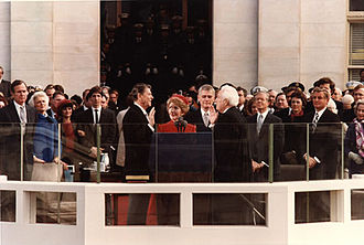 President Reagan being sworn in on Inaugural Day 1981.jpg