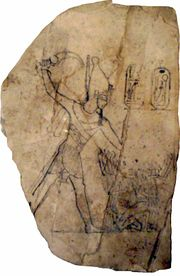 Limestone ostracon depicting Ramesses IV smiting his enemies.