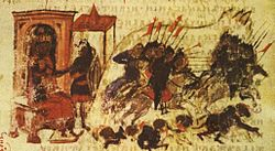 Medieval miniature showing cavalry sallying from a city and routing an enemy army