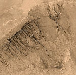 This image from Mars Global Surveyor spans a region about 1500 meters across. Gullies, similar to those formed on Earth, are visible from Newton Basin in Sirenum Terra.