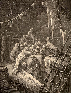 Engraving of seventeen sailors and an albatross on a sailing ship's ice-covered deck