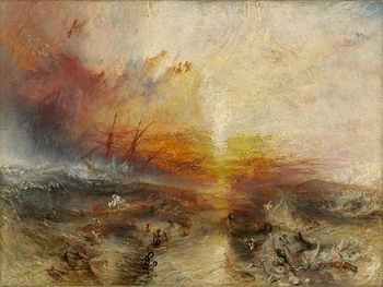 "A painting entitled ""The Slave Ship"" by J. M. W. Turner. In the background, the sun shines through a storm while large waves hit the sides of a sailing ship. In the foreground, slaves are drowning in the water, while others are being eaten by large fish"