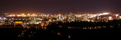 The Spokane skyline at night from the southwest in Palisades Park