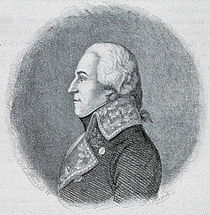Black and white print of a bewigged man in profile, looking to the viewer's left. He wears a dark late 18th century military coat with lace on the lapels.