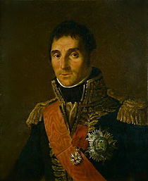 Painting of a brown-haired man wearing an elaborate dark blue military uniform of the Napoleonic era.
